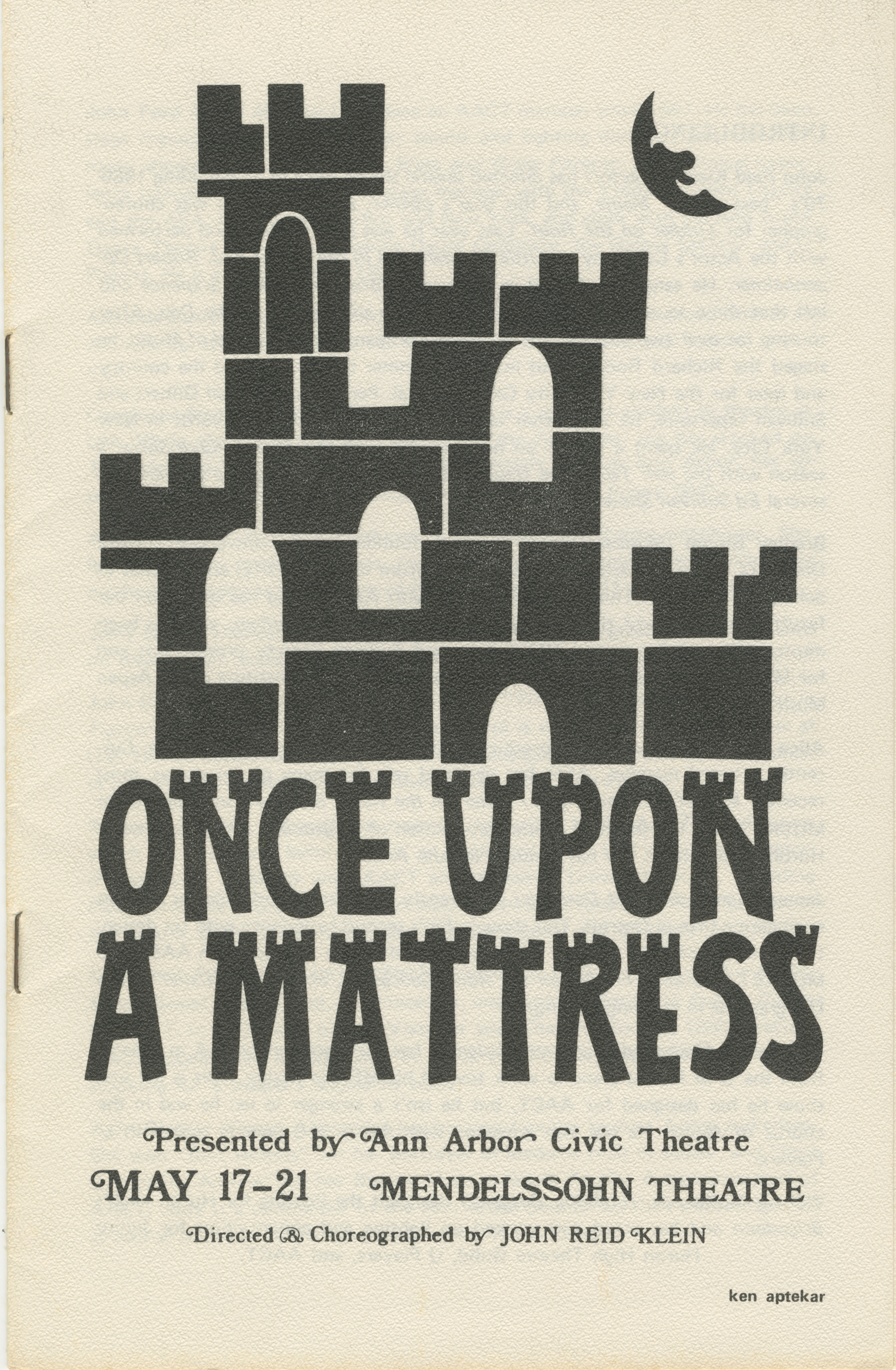 Ann Arbor Civic Theatre Program: Once Upon A Mattress, May 17, 1972