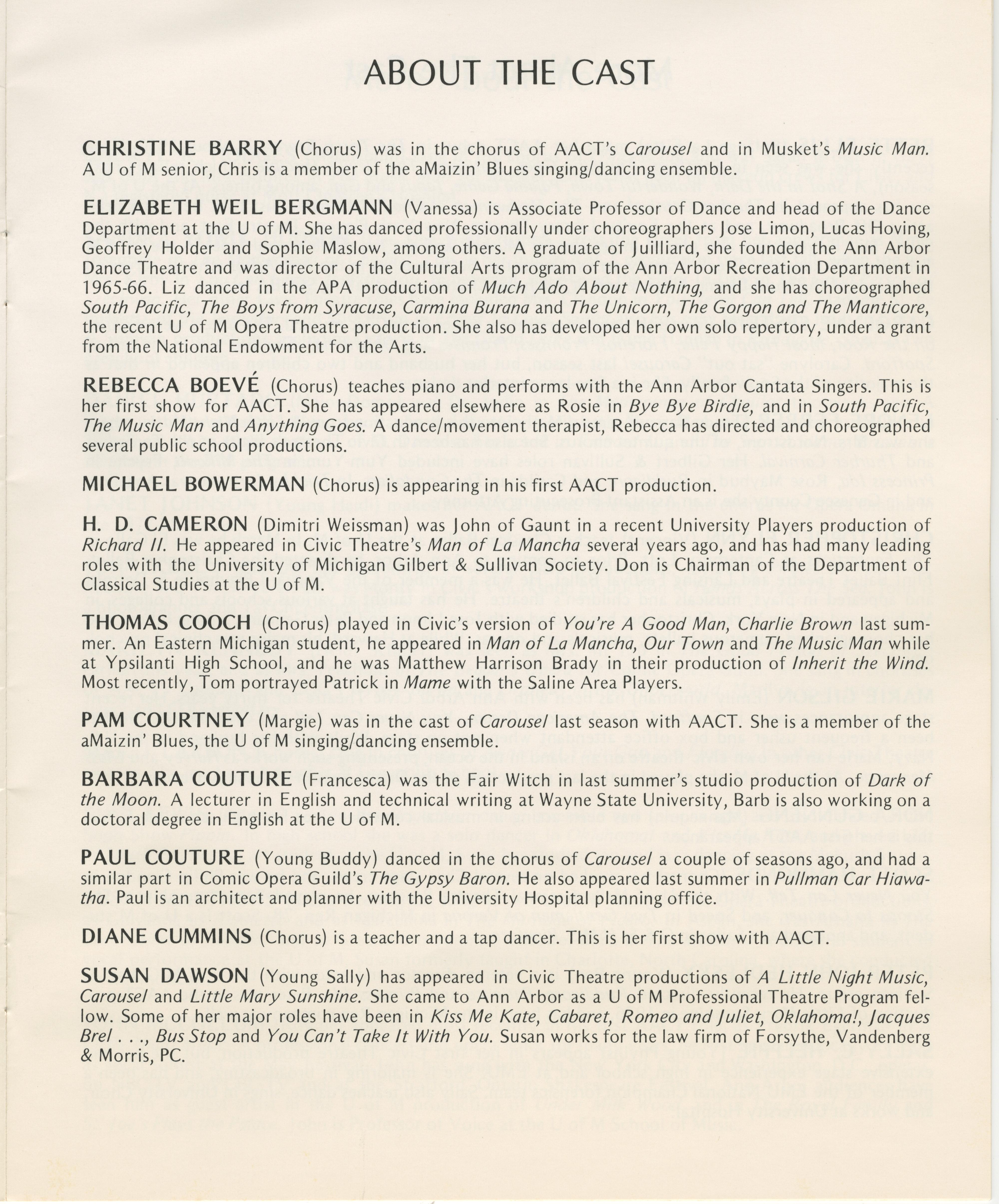 Ann Arbor Civic Theatre Program: Follies, May 31, 1979