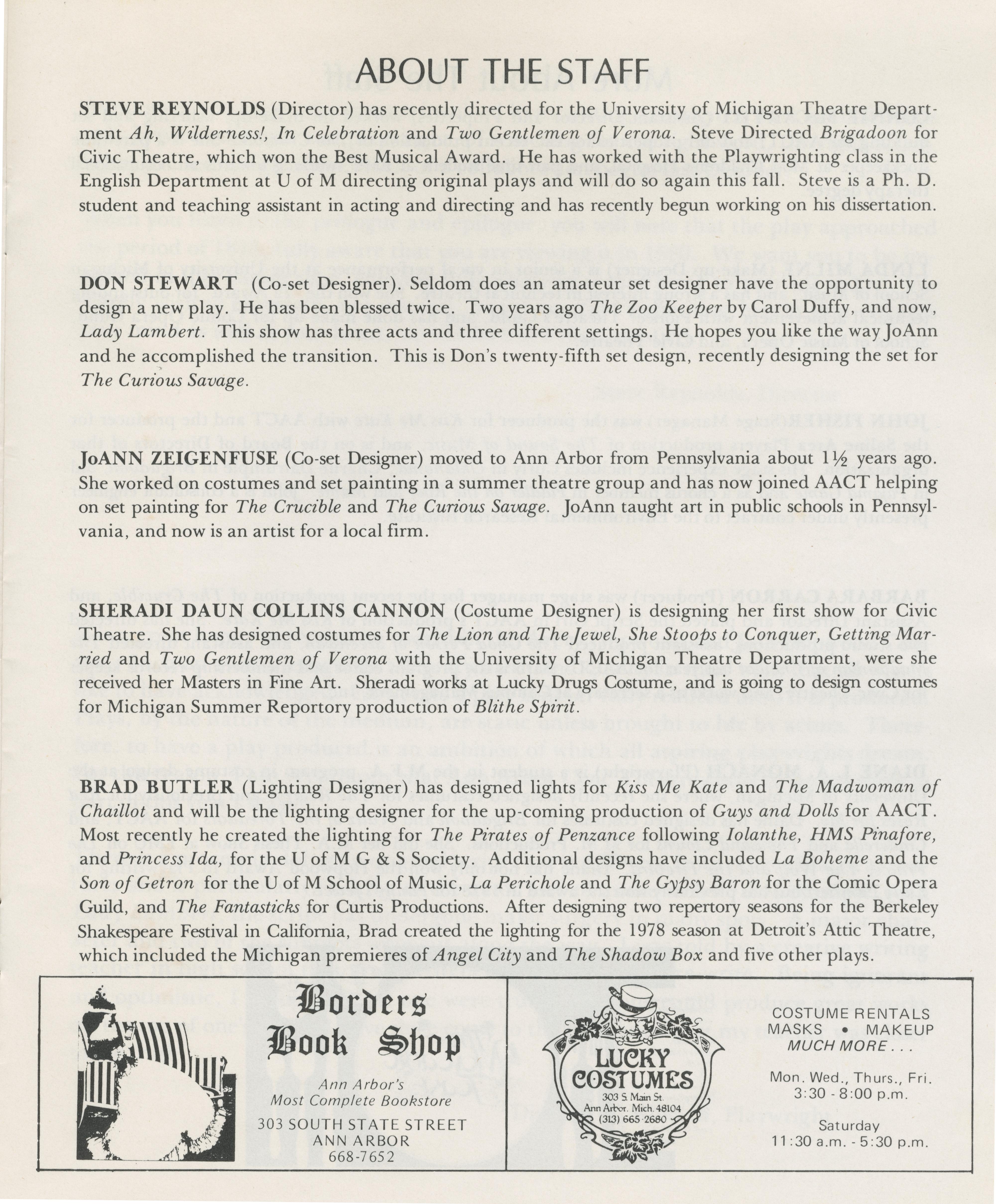 ann arbor civic theatre program lady lambert may 14 1980 ann