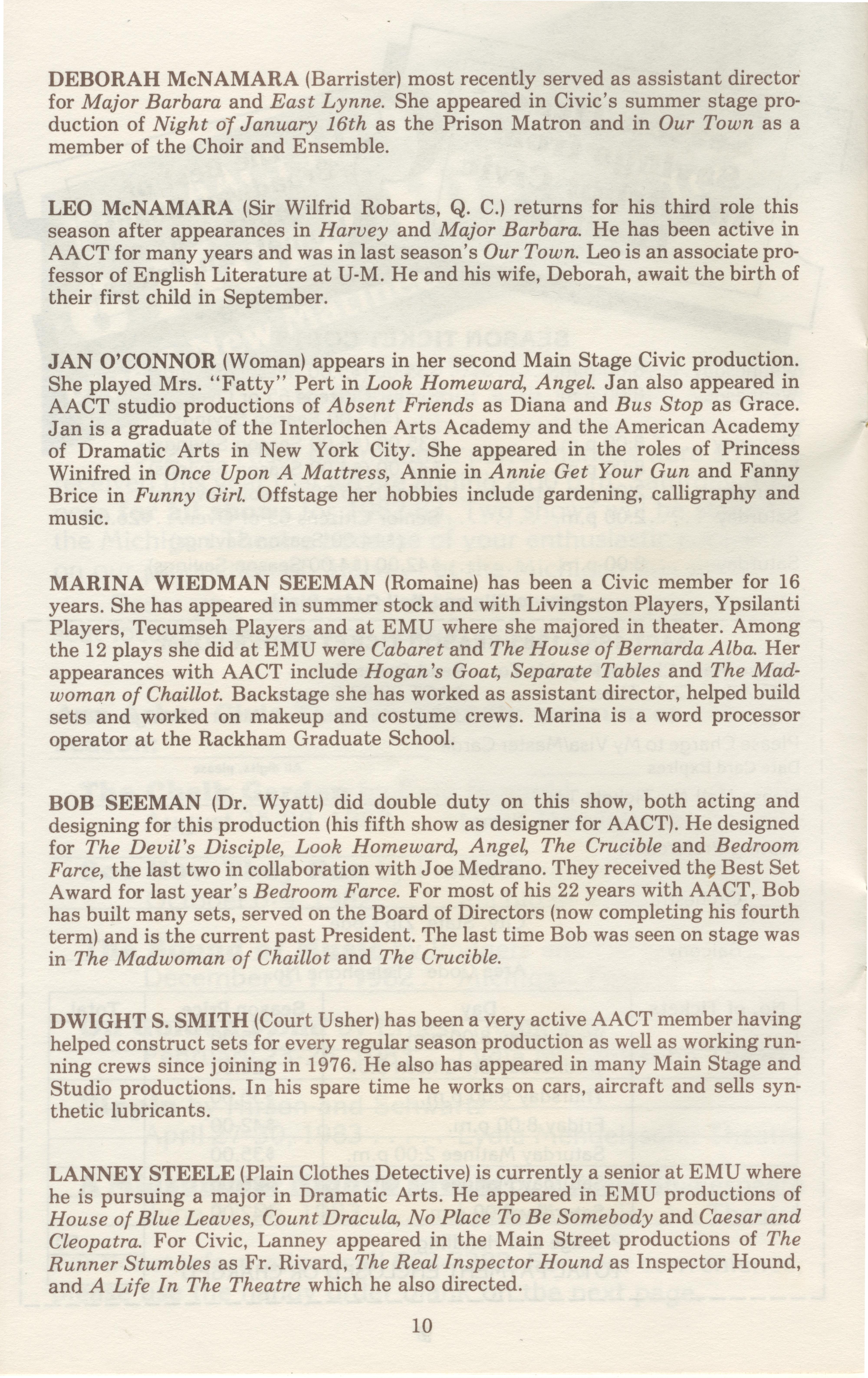 Roller skating emu plains - Ann Arbor Civic Theatre Program Witness For The Prosecution June 23 1982