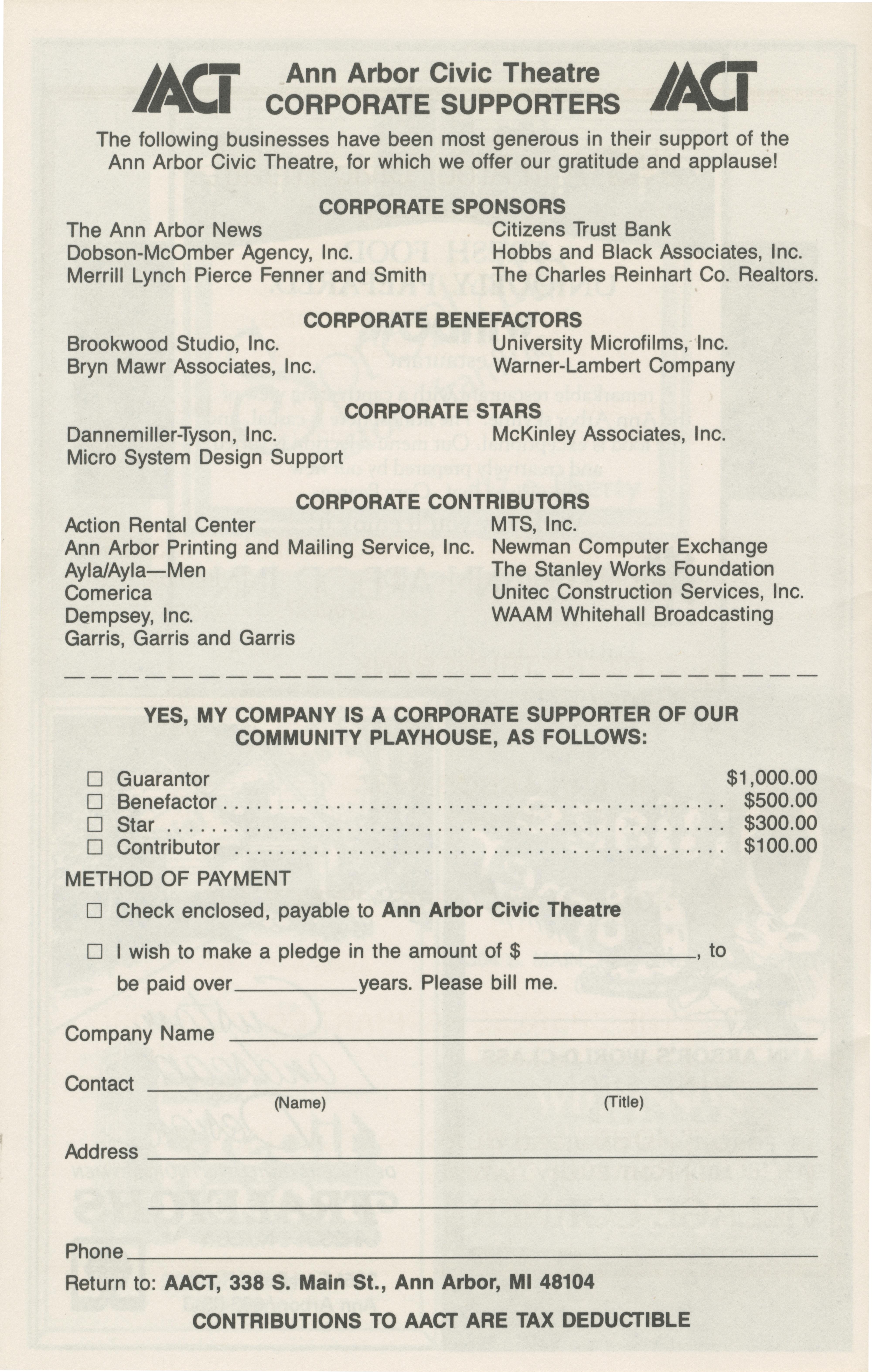 ann arbor civic theatre program r tic comedy 17 1987 publisher