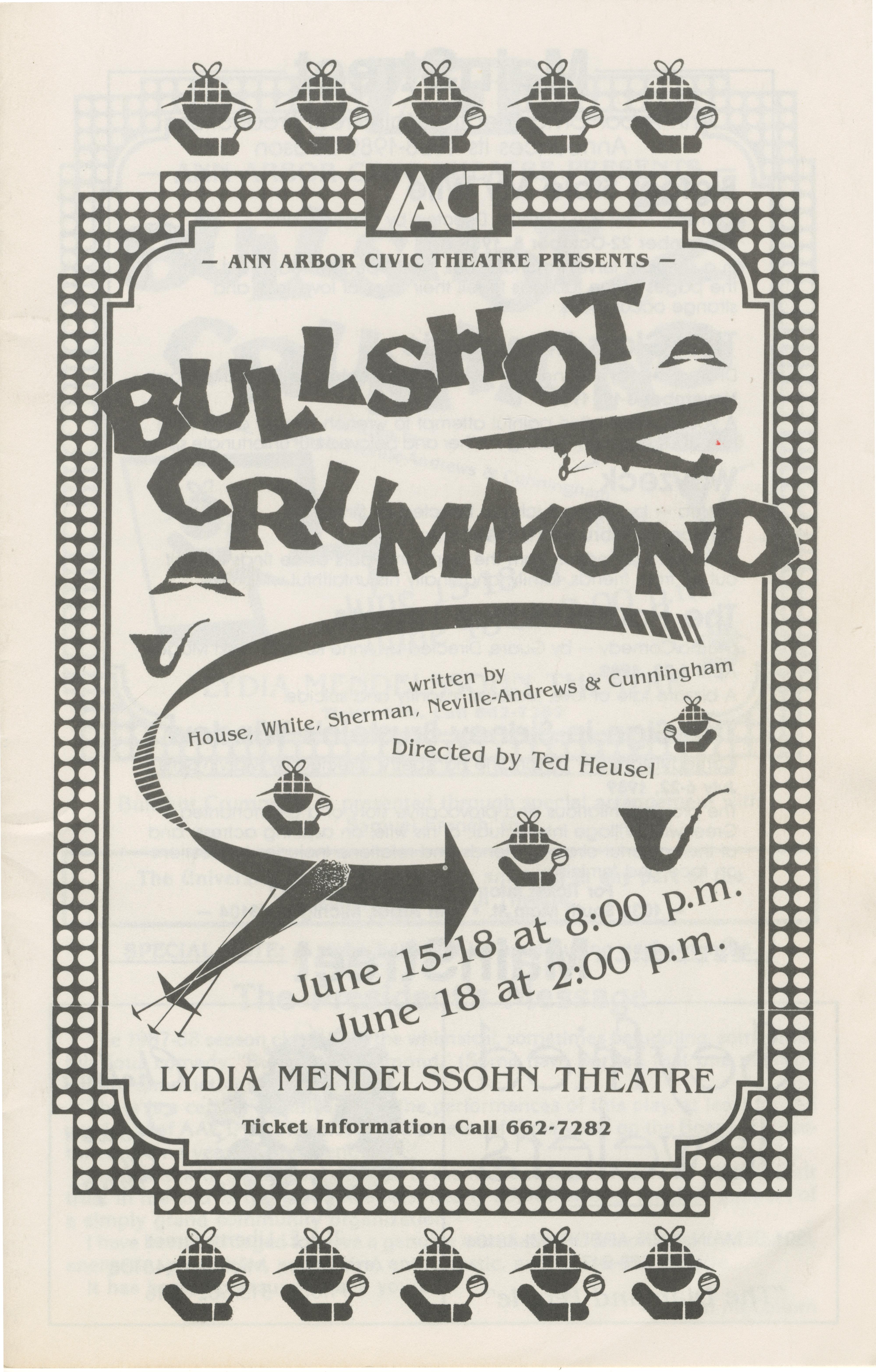 ann arbor civic theatre program bullshot crummond  ann arbor civic theatre program bullshot crummond 15 1988