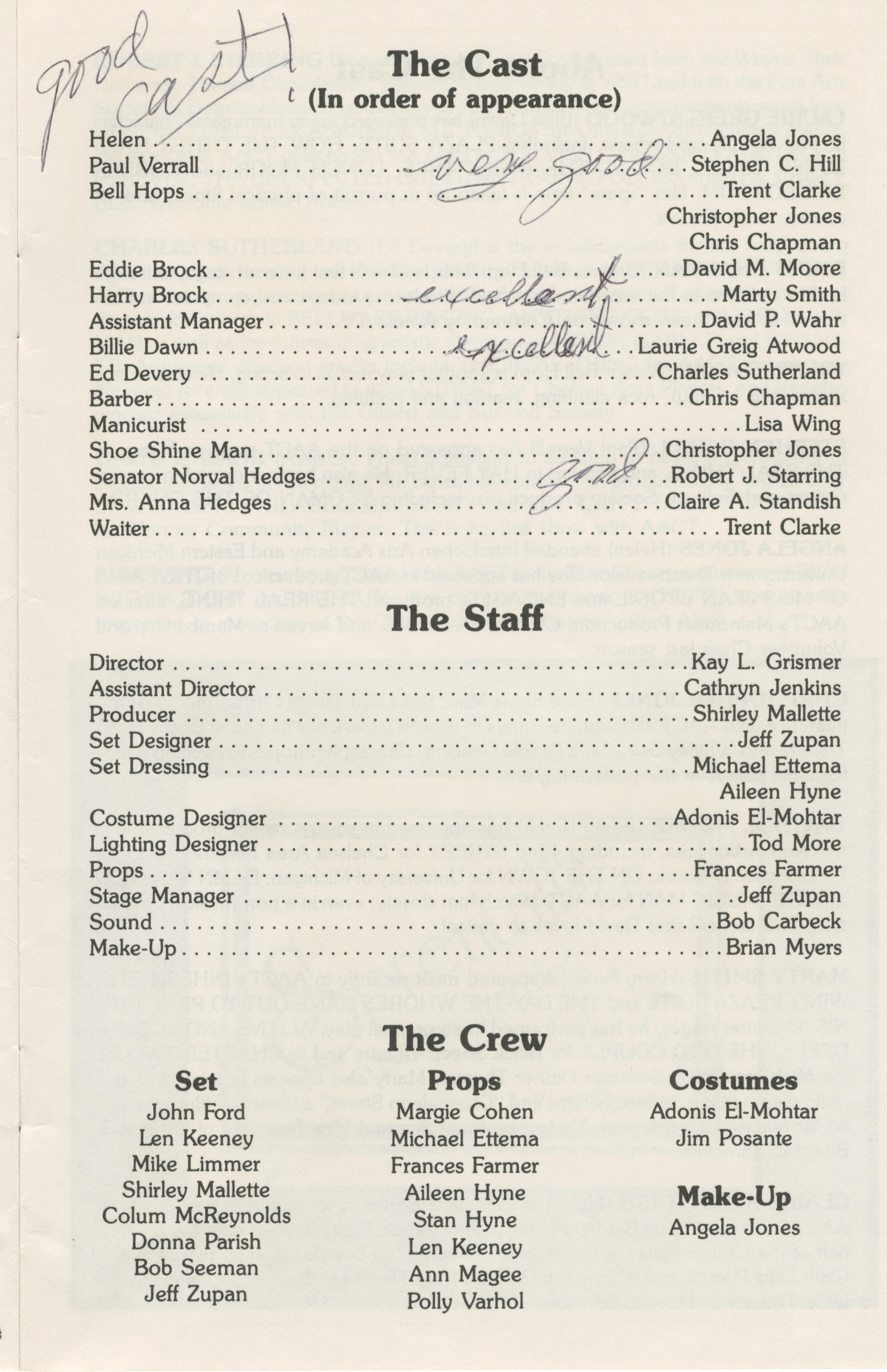 Ann Arbor Civic Theatre Program: Born Yesterday, September 14, 1988