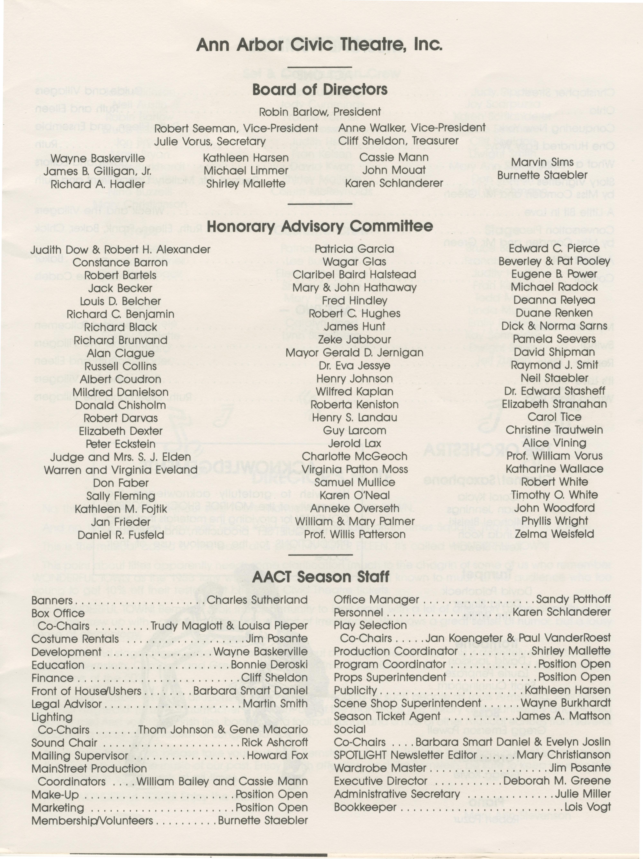 Ann Arbor Civic Theatre Program Wonderful Town December 14 1988