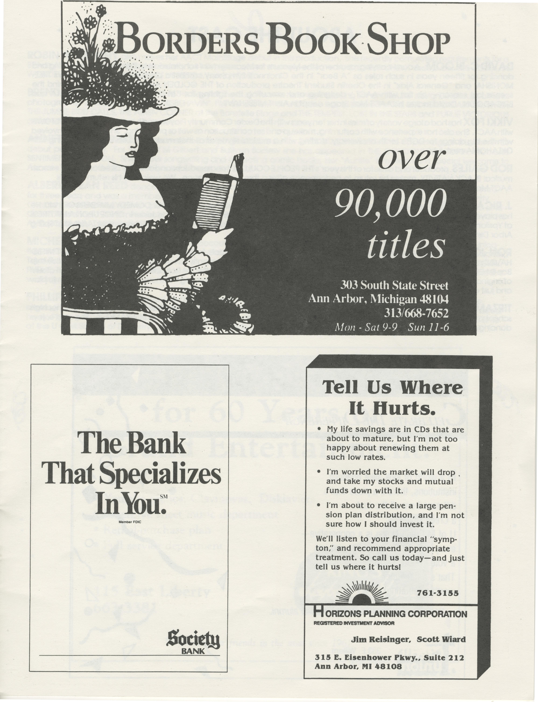 Ann Arbor Civic Theatre Program: Ain't Misbehavin', October 24, 1990