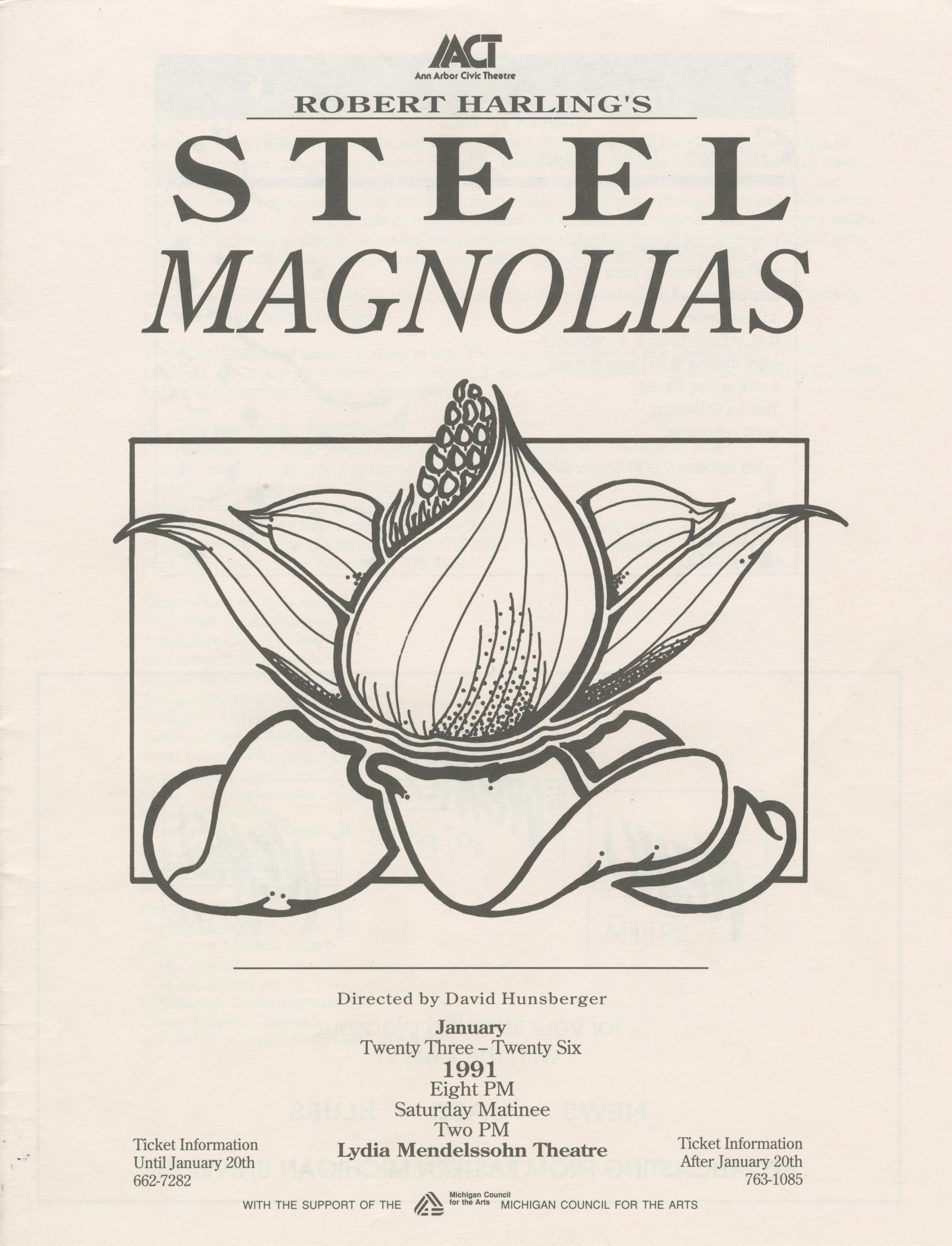 Ann Arbor Civic Theatre Program: Steel Magnolias, January 23, 1991