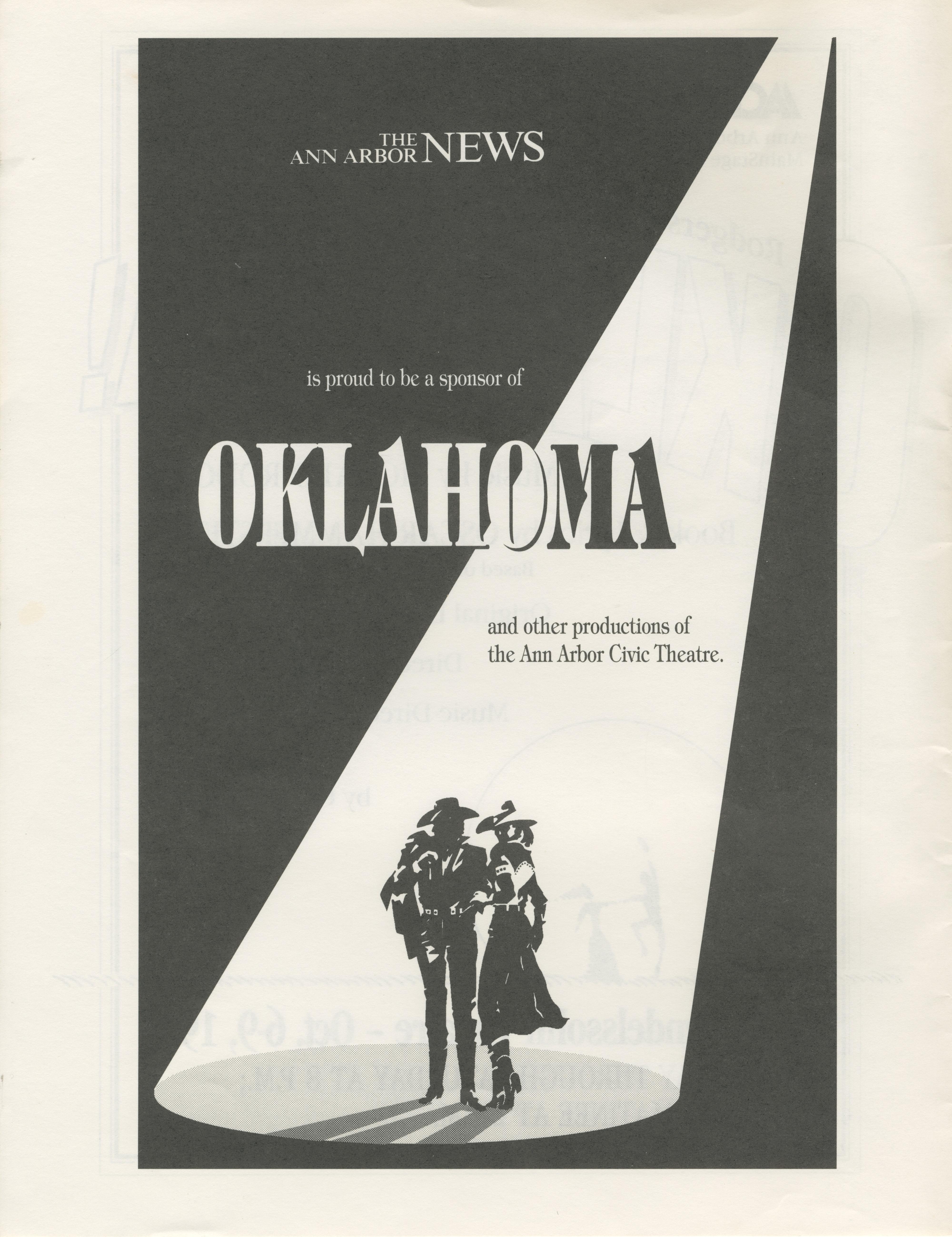 Ann Arbor Civic Theatre Program: Oklahoma!, October 06, 1993