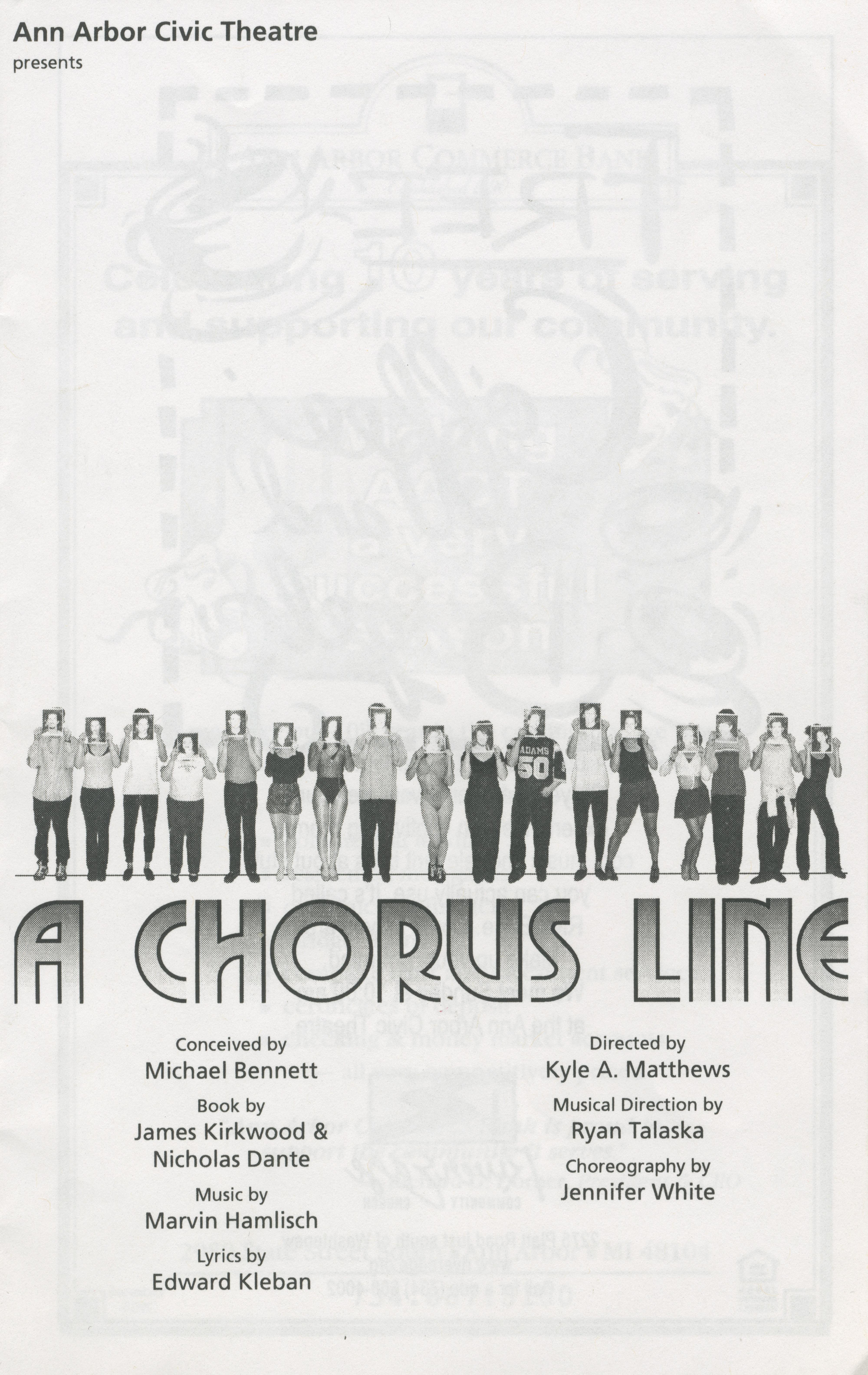 ann arbor civic theatre program  a chorus line  may 03