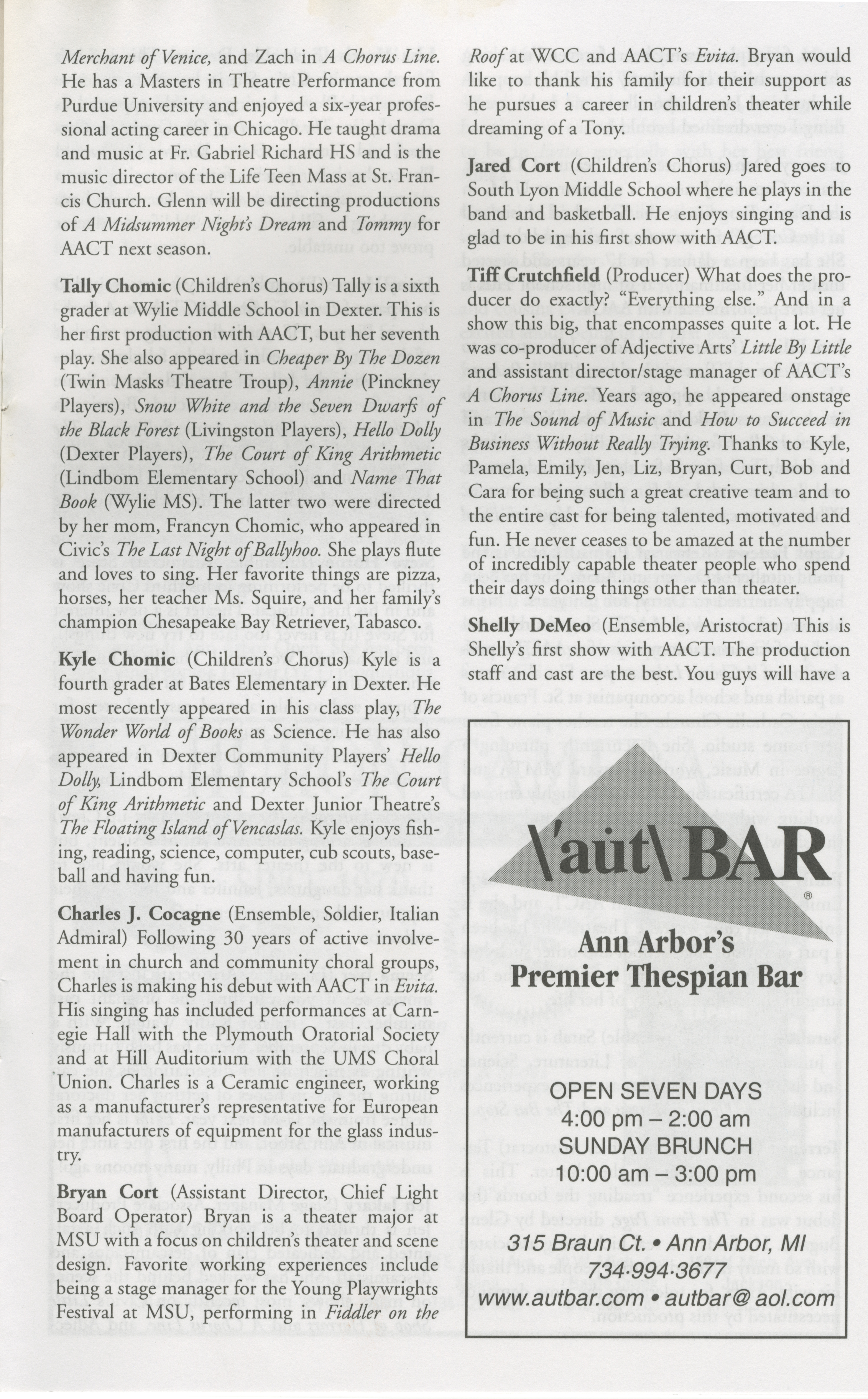 Ann Arbor Civic Theatre Program: Evita, June 07, 2001