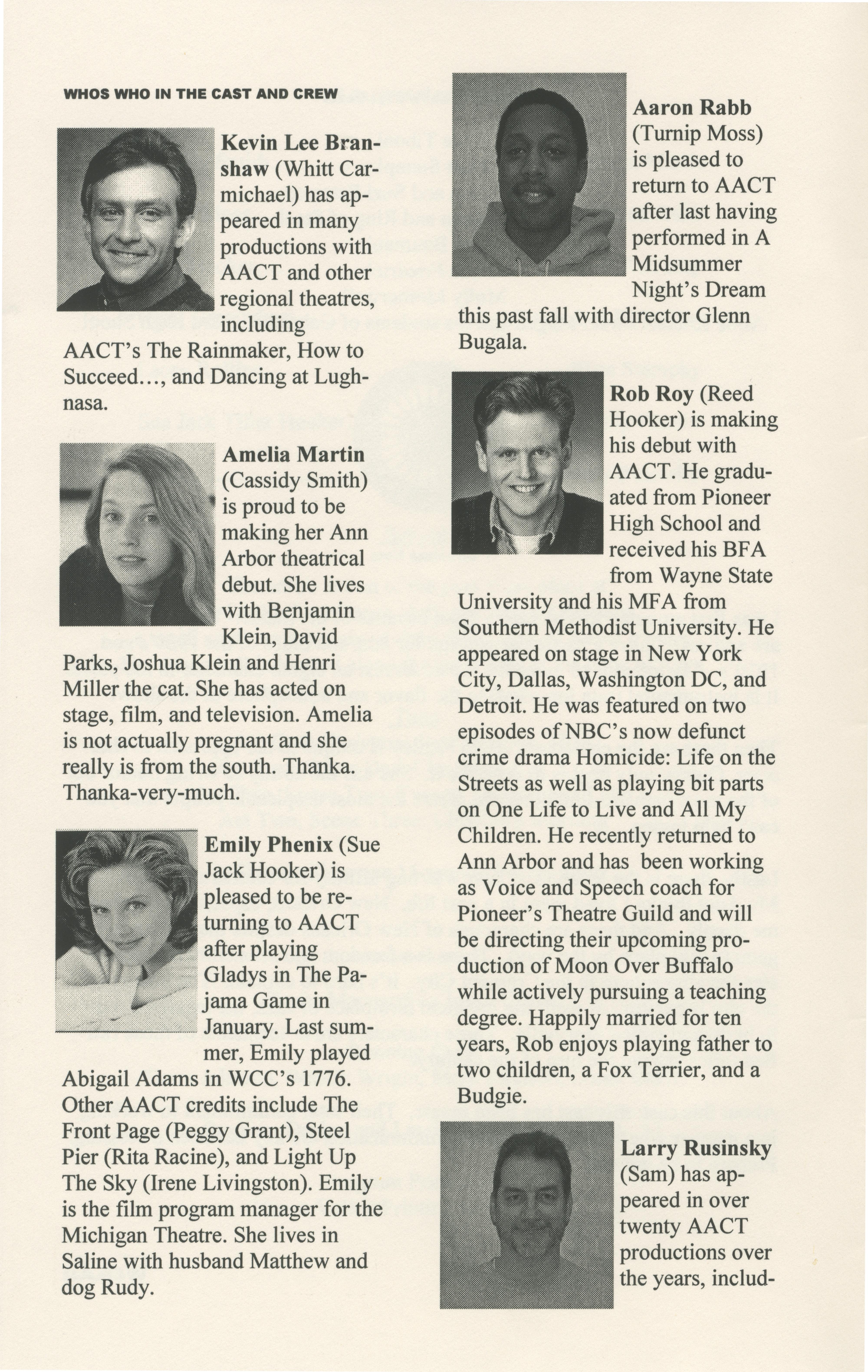 ann arbor civic theatre program the lucky spot march 14 2002