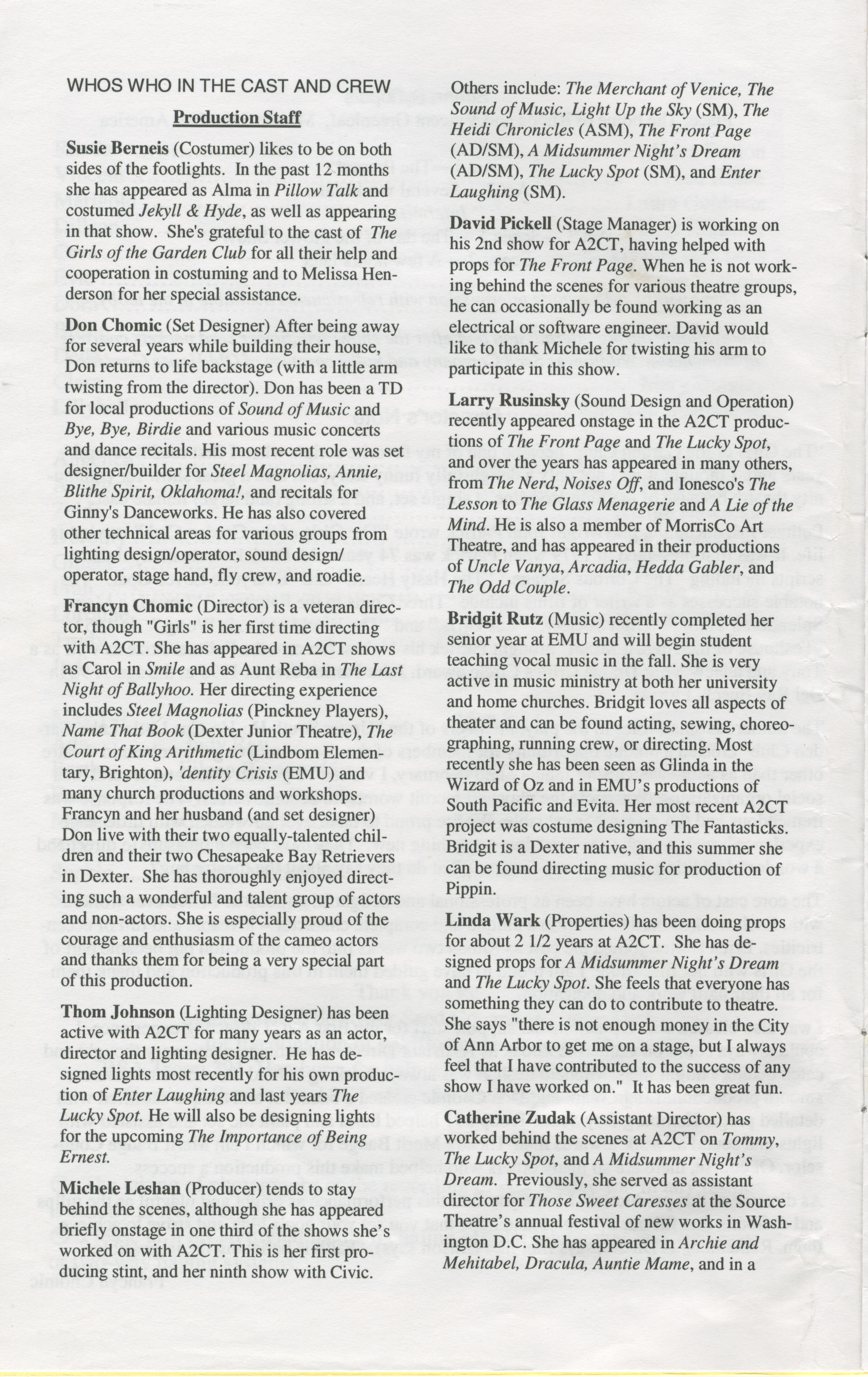 Show scenes page - Ann Arbor Civic Theatre Program The Girls Of The Garden Club May 01 2003