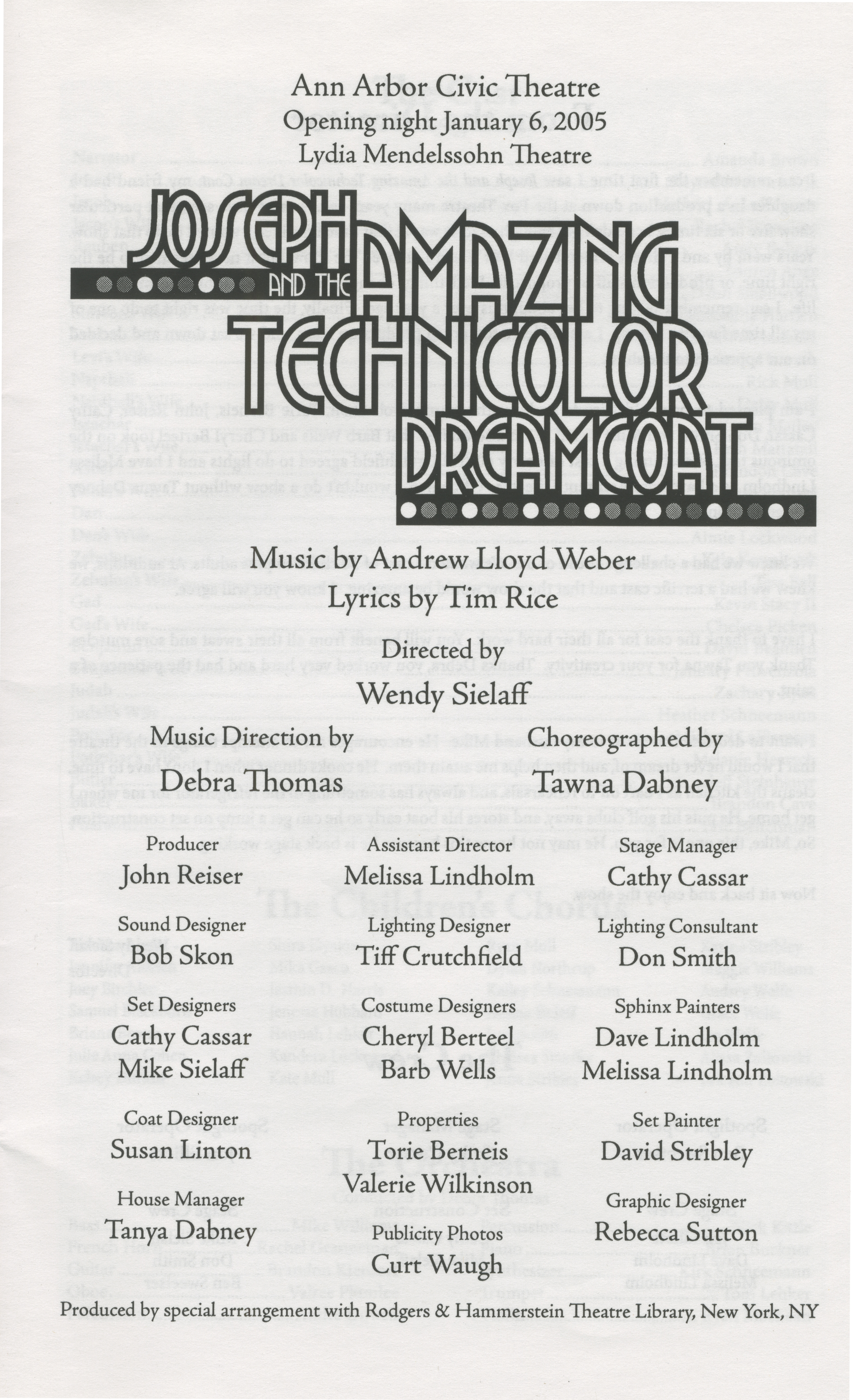 ann arbor civic theatre program  joseph and the amazing