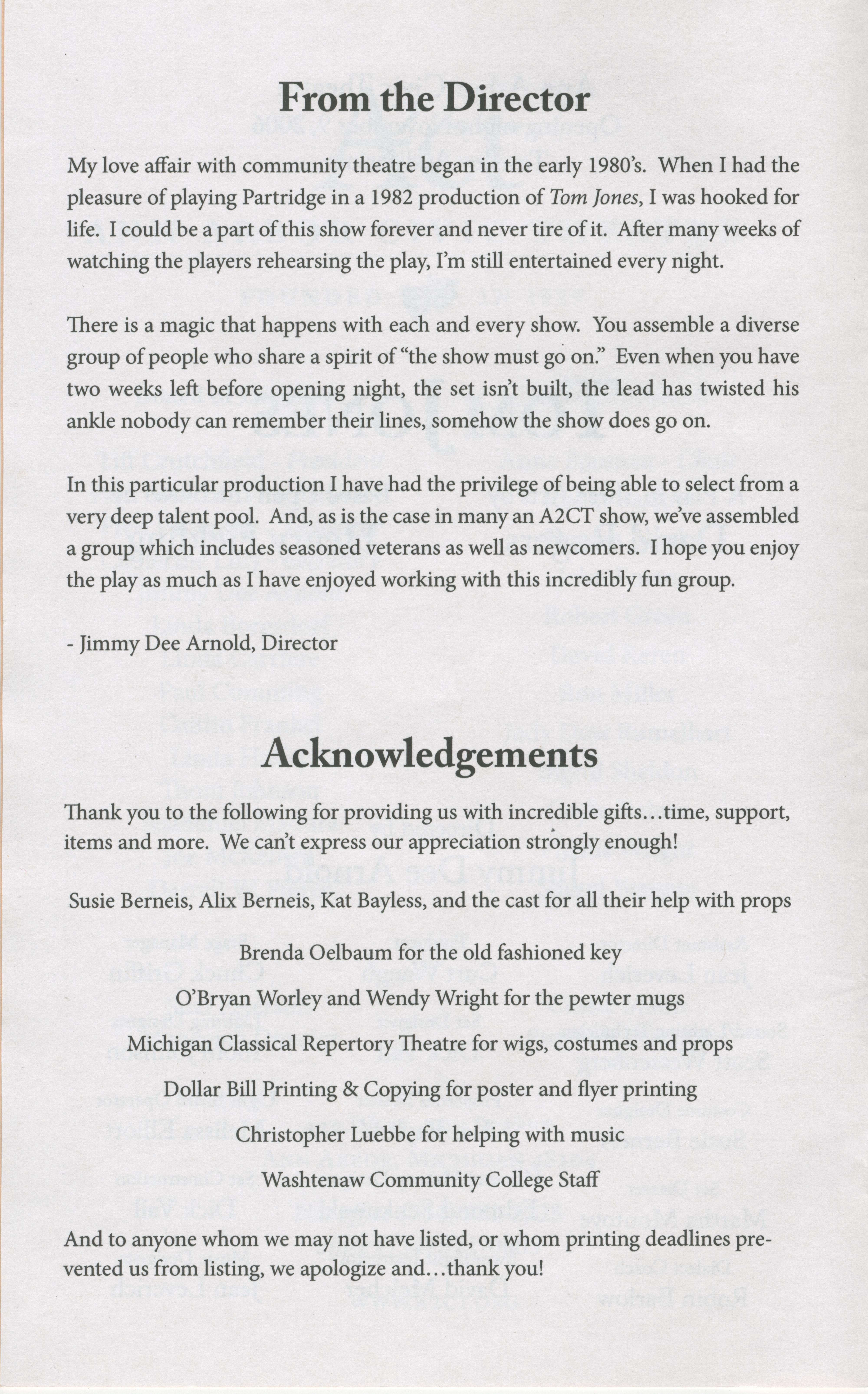 Ann Arbor Civic Theatre Program: Tom Jones, November 09, 2006