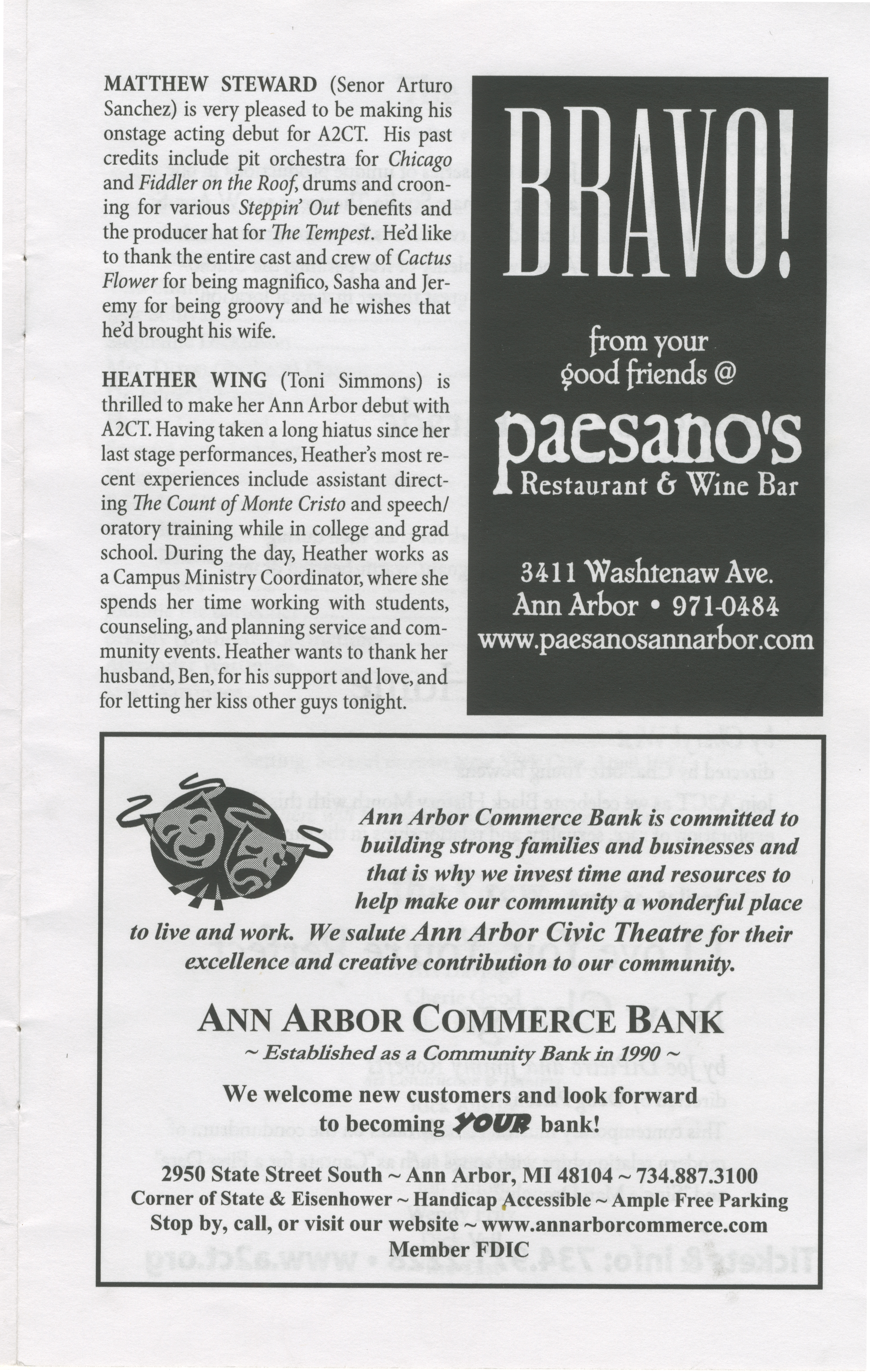 Ann Arbor Civic Theatre Program: Cactus Flower, April 19, 2007