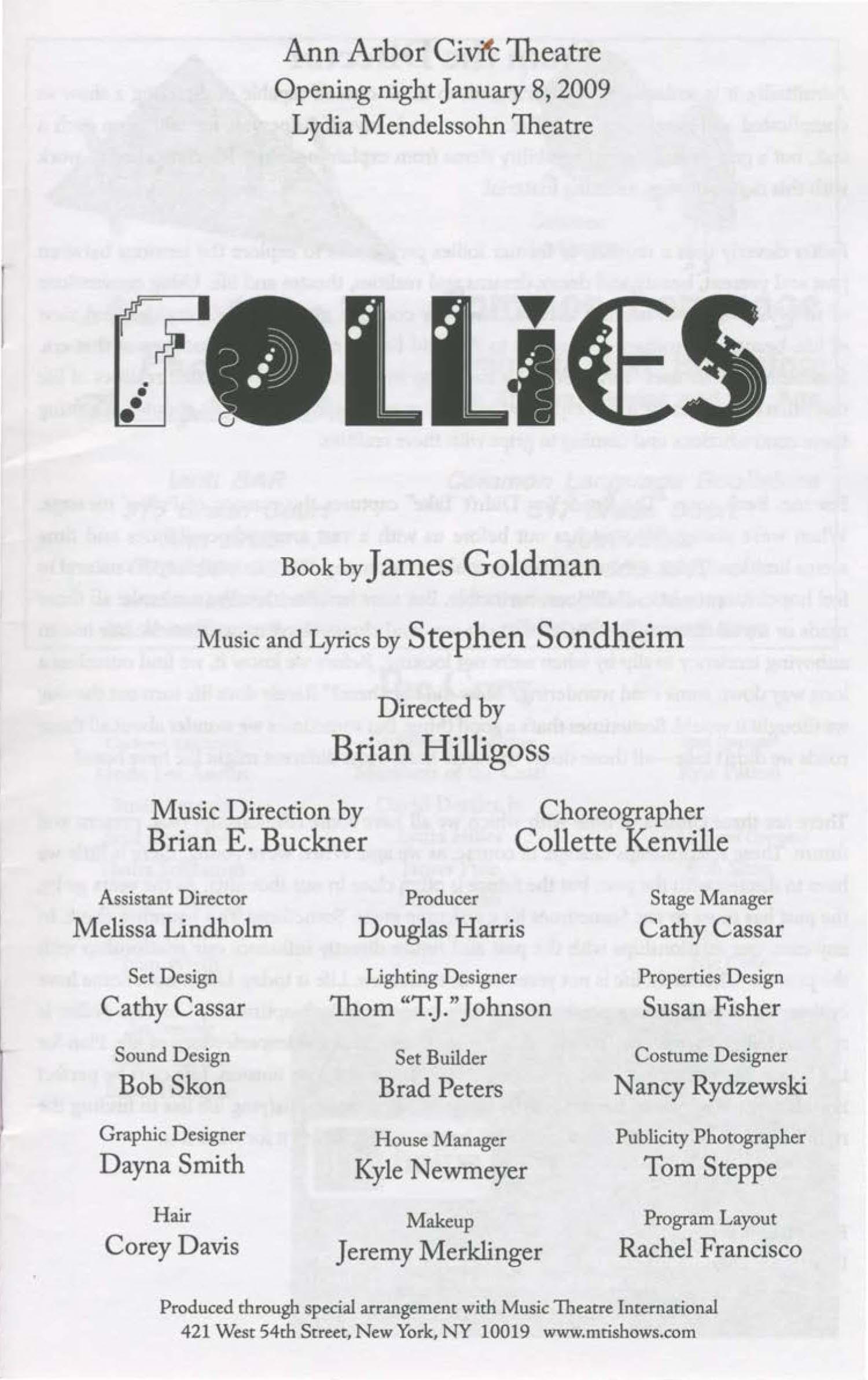 Ann Arbor Civic Theatre Program: Follies, January 08, 2008