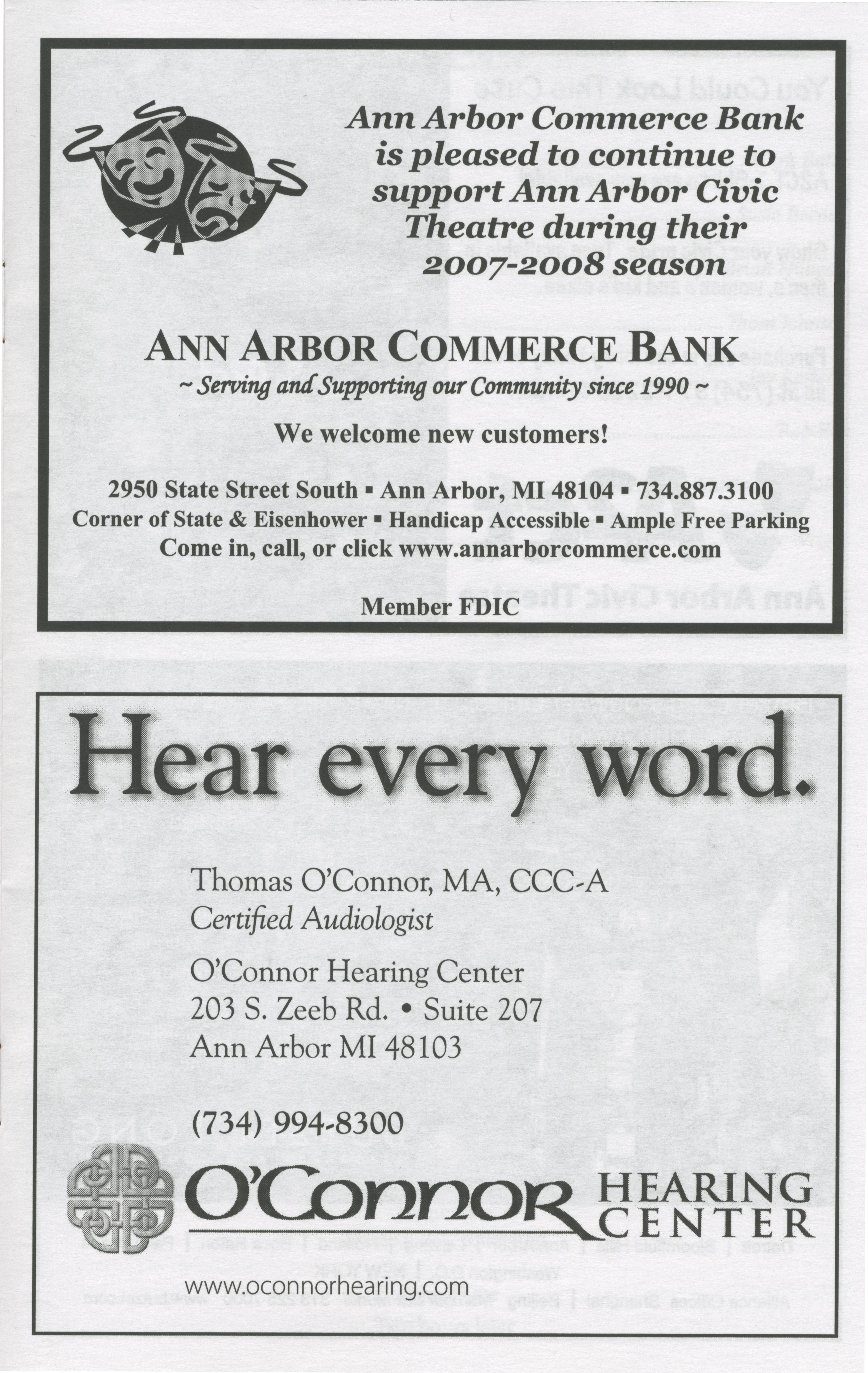Ann Arbor Civic Theatre Program: Moon Over Buffalo, March 06, 2008