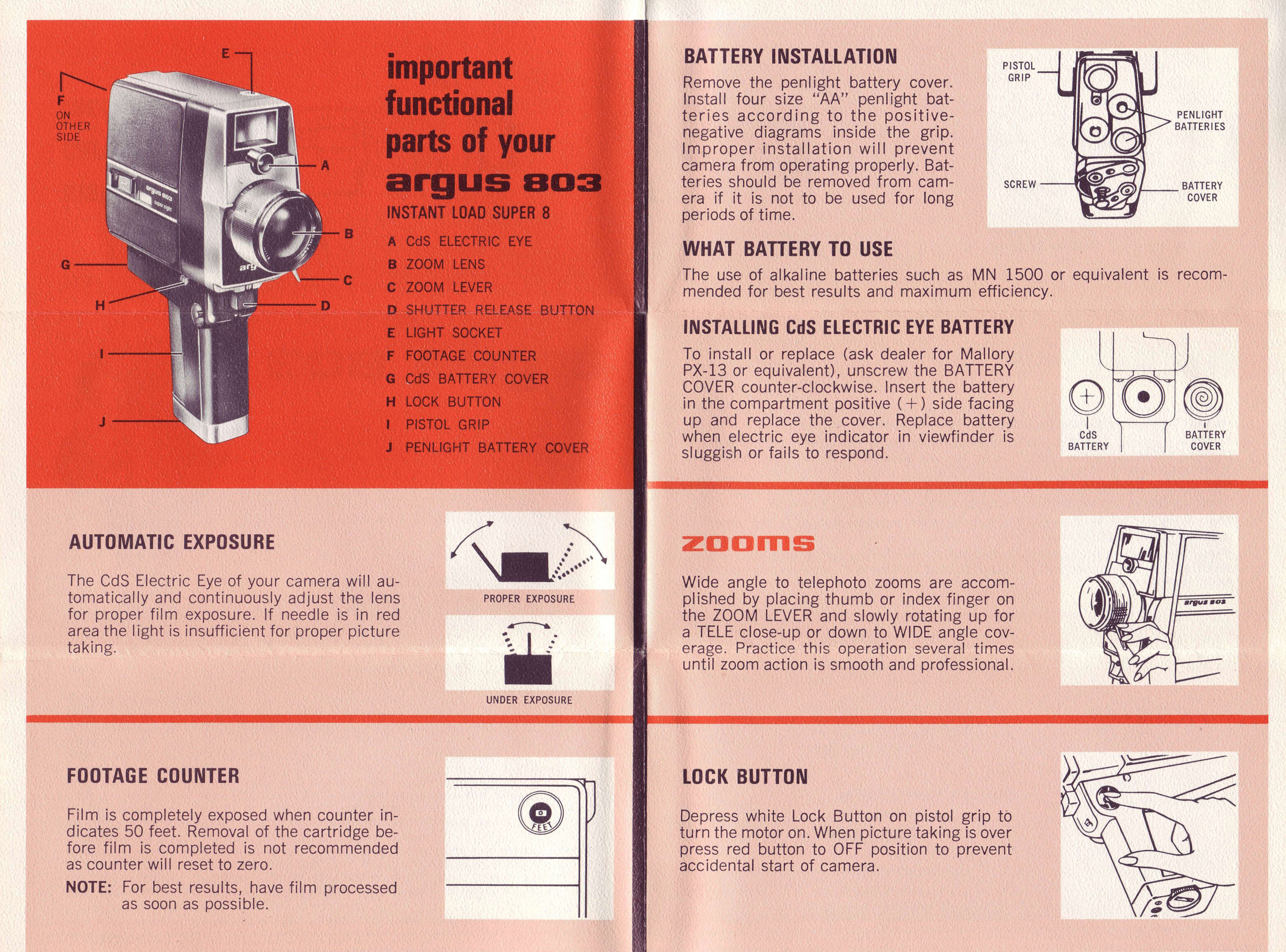 Argus 803 Zoom Movie Camera Instruction Manual