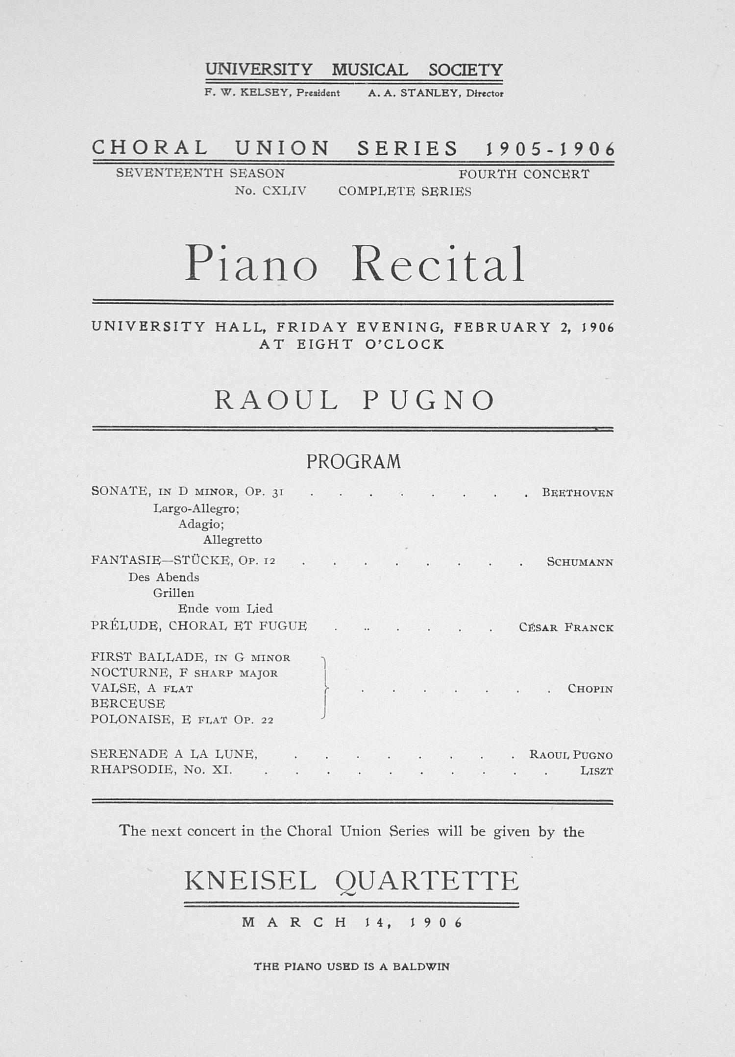 Union J Beethoven UMS Concert Program, F...