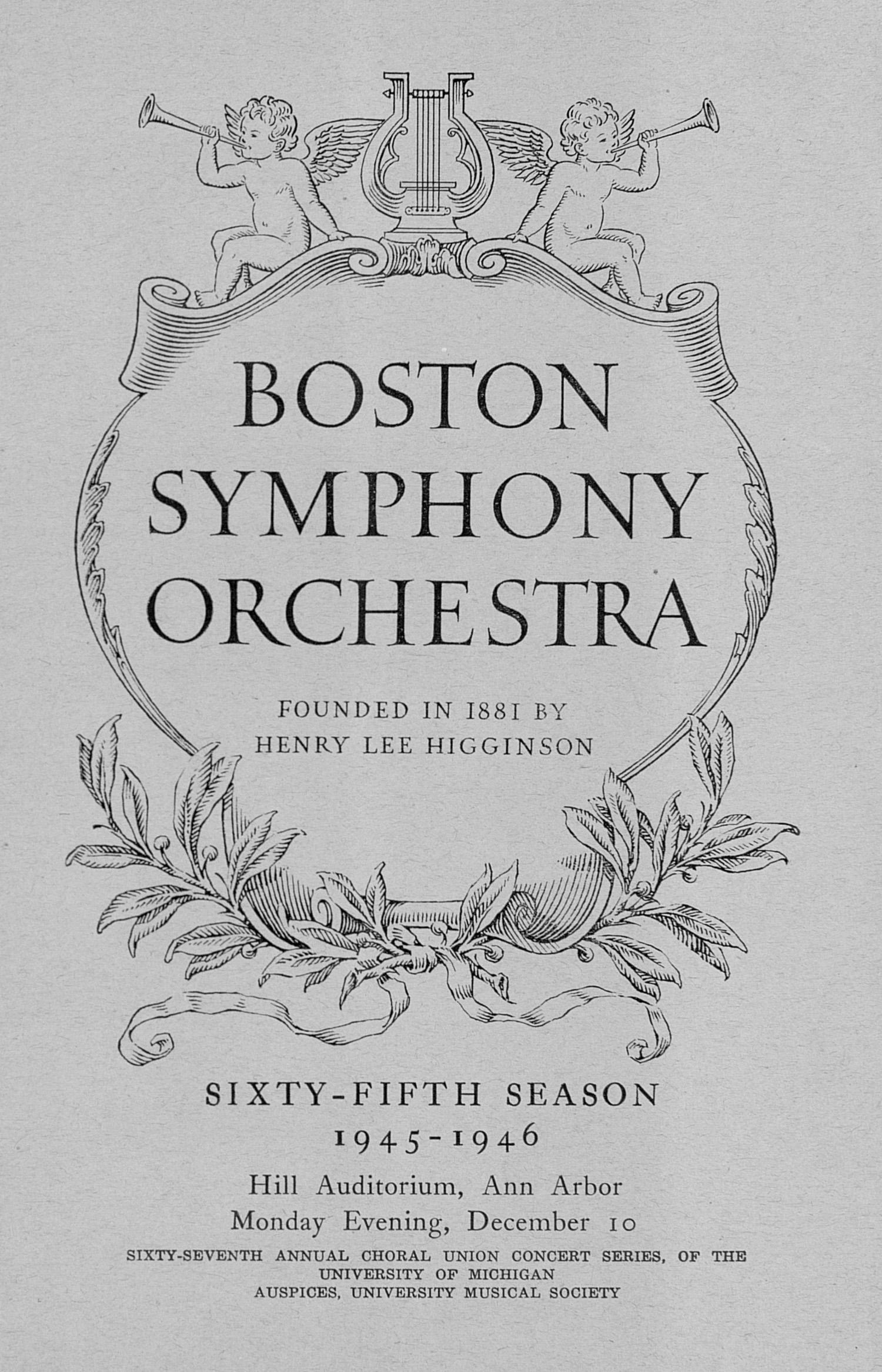UMS Concert Program, December 10: Boston Symphony Orchestra -- Serge Koussevitzky