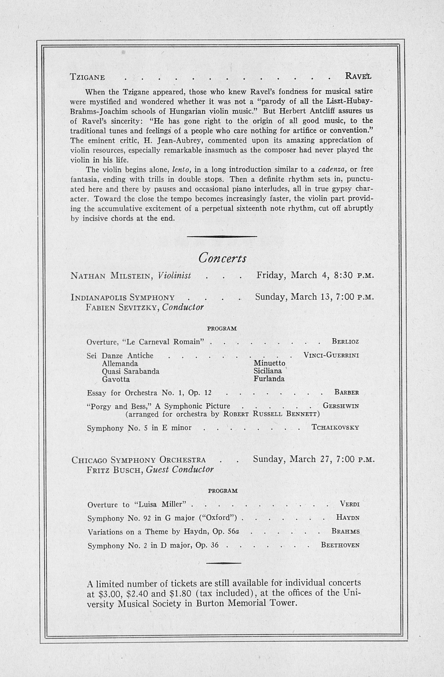 ums concert program third annual extra concert ums concert program 19 1949 third annual extra concert series heifetz