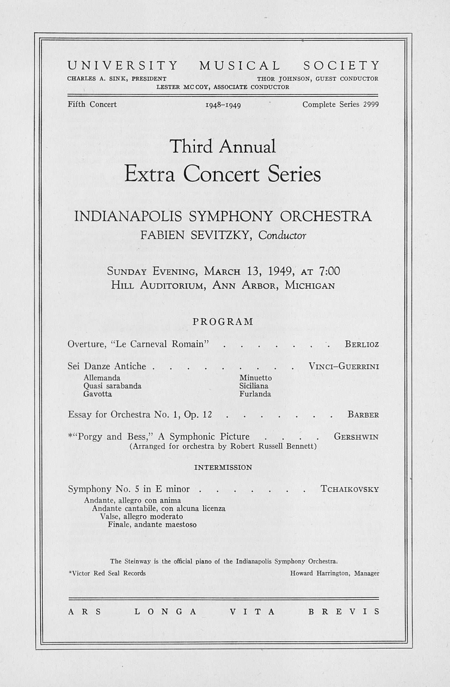 ums concert program third annual extra concert ums concert program 13 1949 third annual extra concert series napolis symphony orchestra
