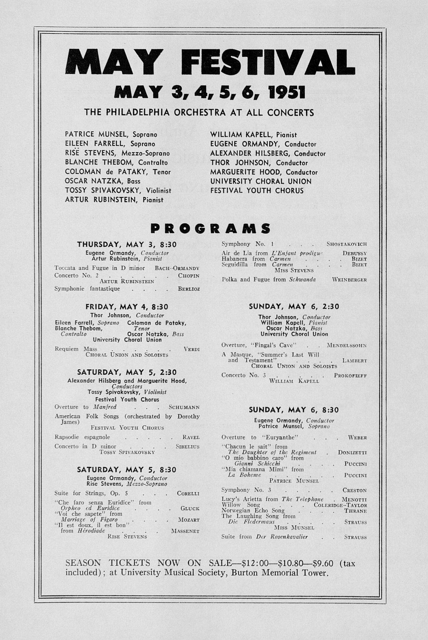UMS Concert Program February 17 1951 Eleventh Annual Chamber – Concert Program