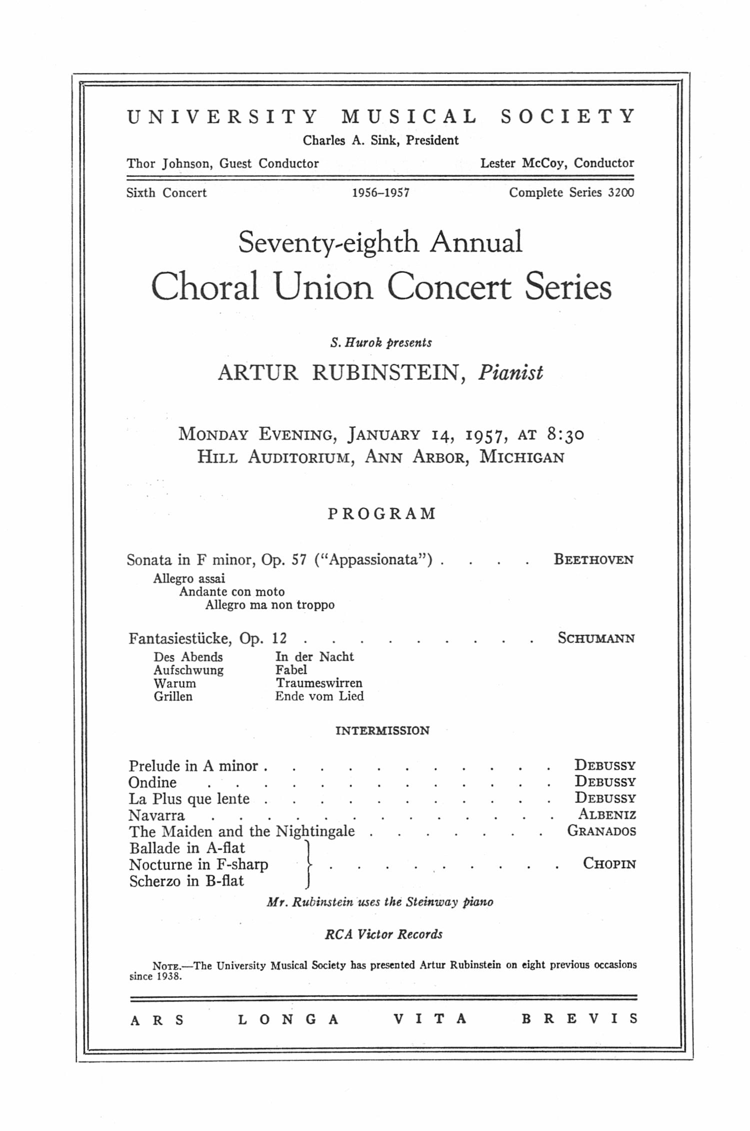 UMS Concert Program January 14 1957 Seventyeighth Annual – Concert Program