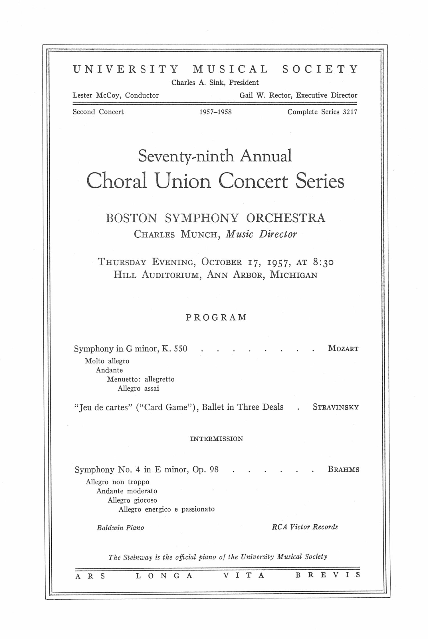 UMS Concert Program October 17 Seventyninth Annual Choral Union – Concert Program