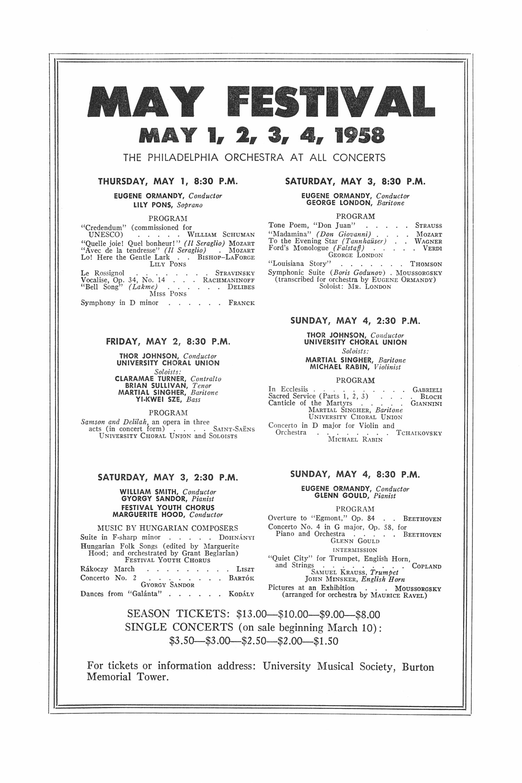 UMS Concert Program February 25 1958 Seventyninth Annual – Concert Program