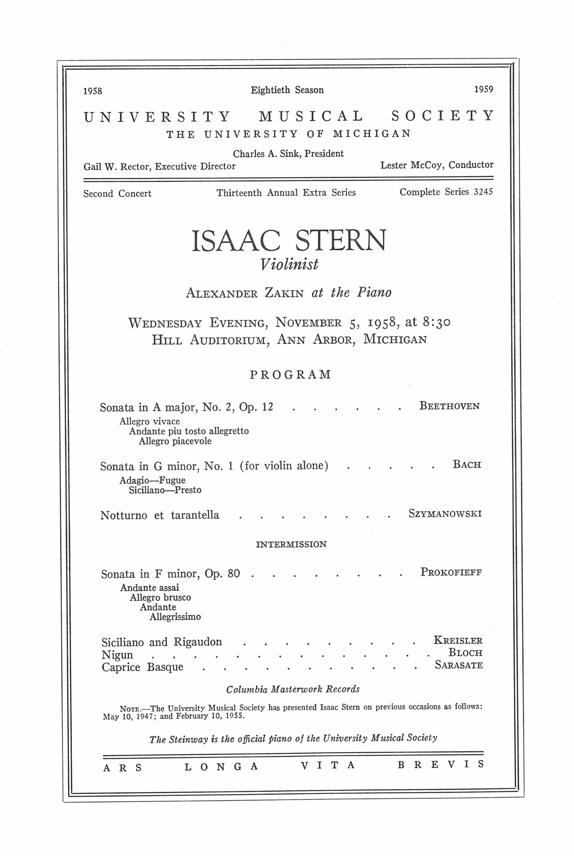 UMS Concert Program November 5 1958 Isaac Stern Alexander – Concert Program