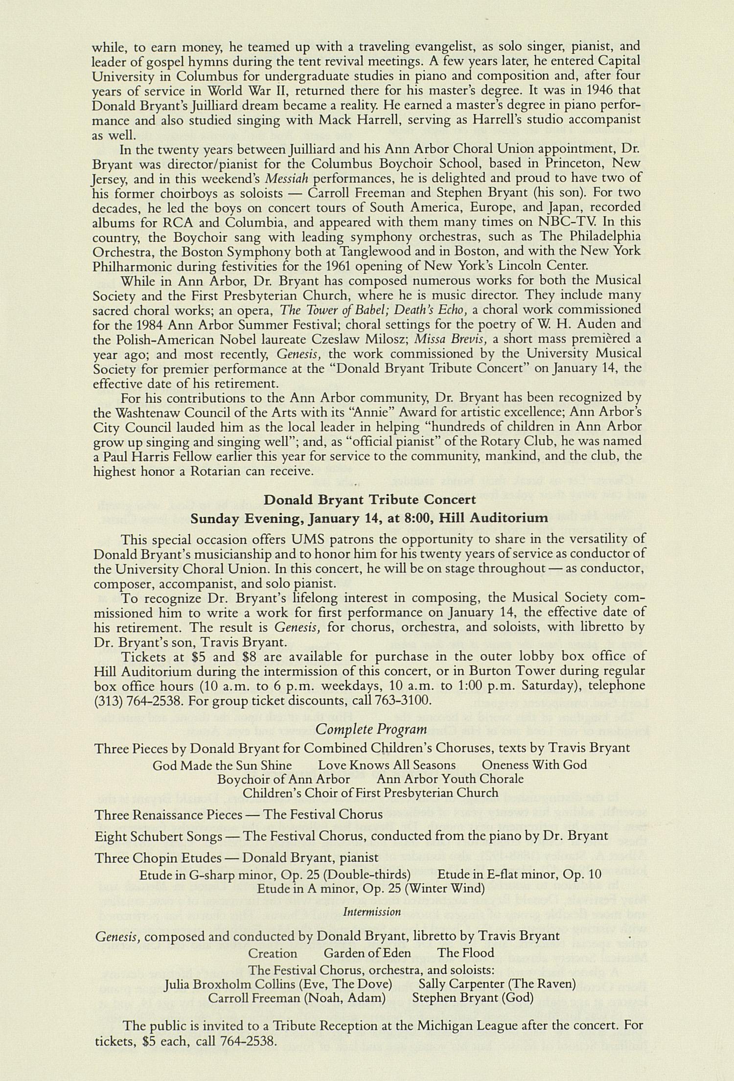 ums concert program december 2 3 1989 messiah george