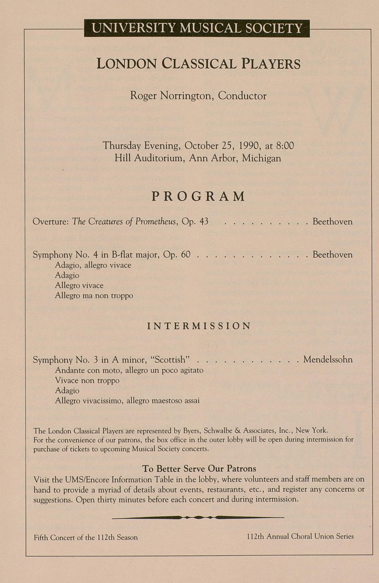 UMS Concert Program October 25 1990 London Classical Players – Concert Program