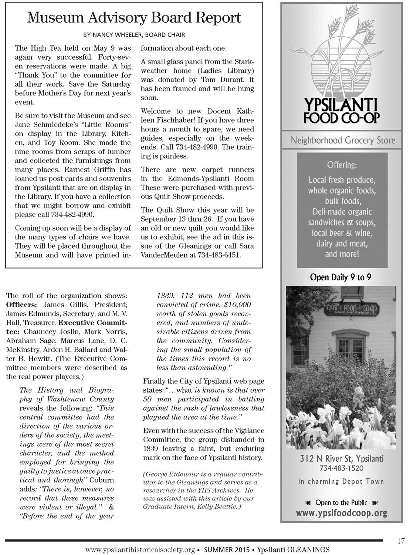 Ypsilanti Gleanings – Board Report