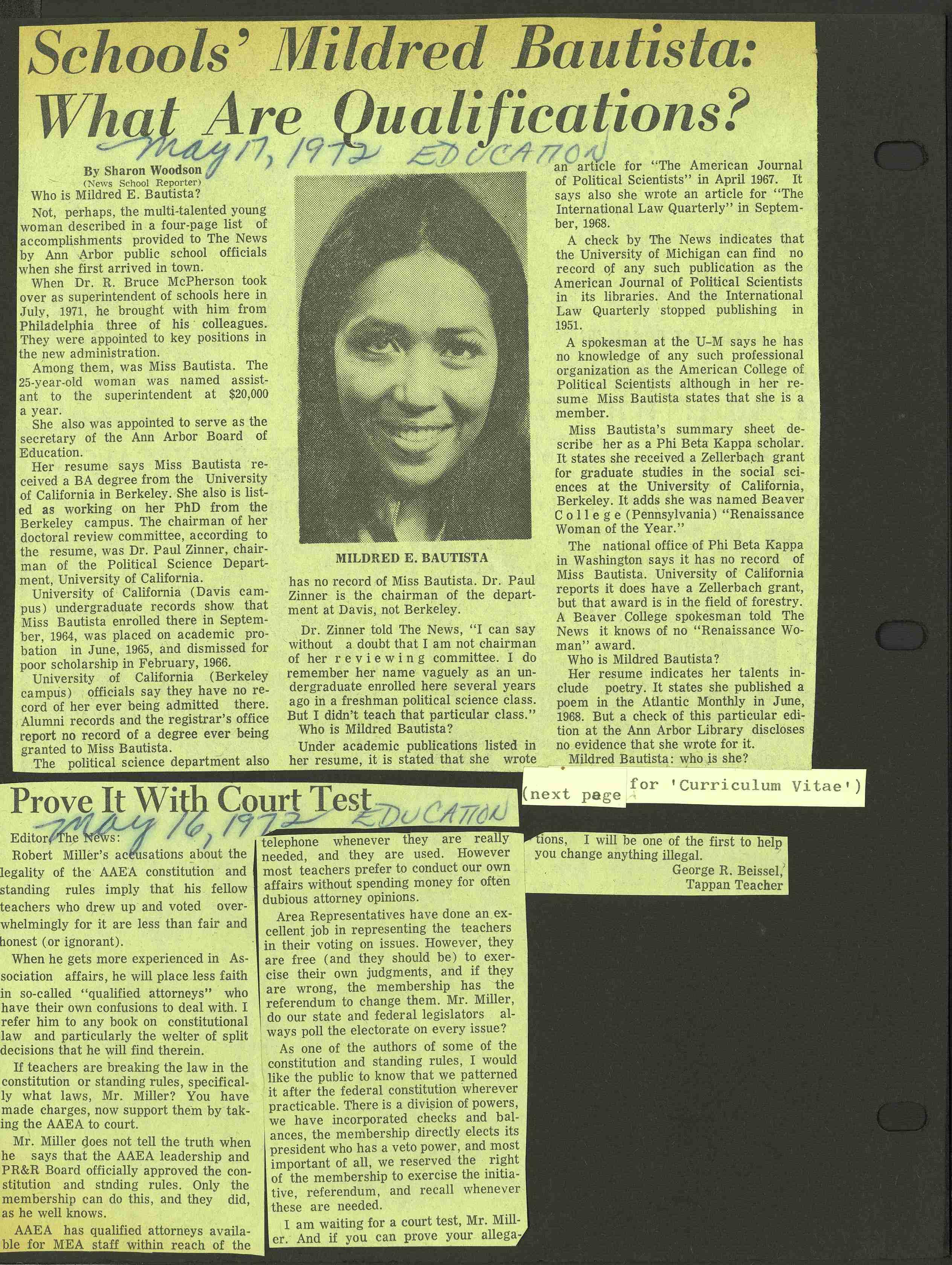 schools mildred bautista what are qualifications old news day